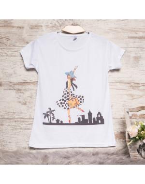 Белая женская футболка с принтом Carla Mara 3211-4