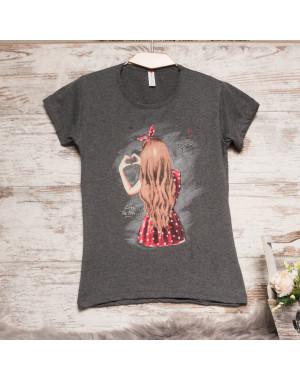 Темно-серая женская футболка с принтом Akkaya 3206-1