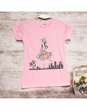 Розовая женская футболка с принтом Carla Mara 3211-5