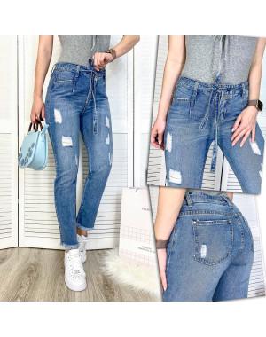3592 New jeans мом синий с царапками весенний коттоновый (25-30, 6 ед.)