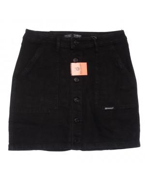 0040-2 V Relucky юбка джинсовая на пуговицах черная осенняя стрейчевая  (25-30, 6 ед.)