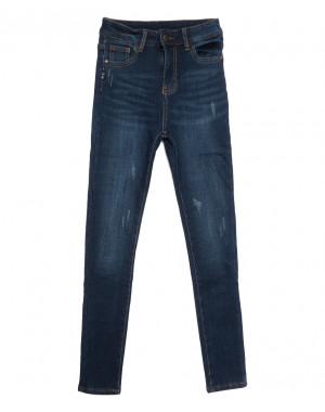 0614 New Jeans американка на флисе с царапками синяя зимняя стрейчевая (25-30, 6 ед.)