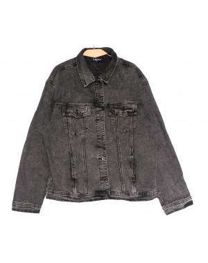 1625 Lady N куртка джинсовая женская серая осенняя стрейчевая (L-4XL, 6 ед.)
