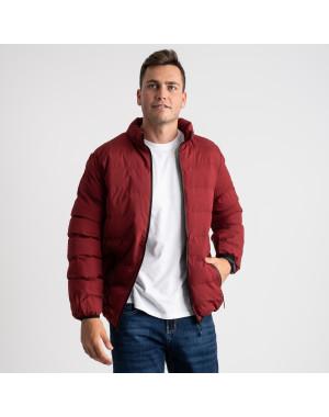8088-2 бордовая куртка полубатальная мужская на синтепоне (6 ед .размеры : L-5XL)