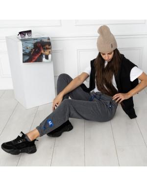 0010-5 темно-серые спортивные штаны женские на флисе (6 ед.размеры: S.M.L.XL.XXL.3XL)
