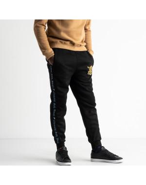0089-3 спортивные штаны мужские батальные на байке с синими лампасами  (5 ед.размеры: XL.2XL.3XL.4XL.5XL)