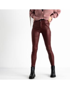 0101-3 XYH бордовые брюки из экокожи на байке (6 ед.размеры: 25.26.27.28.29.30)