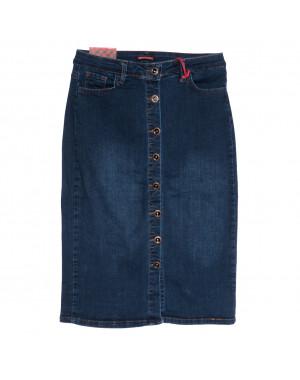 0614 Redmoon юбка джинсовая батальная на пуговицах синяя осенняя стрейчевая (30-36, 6 ед.)
