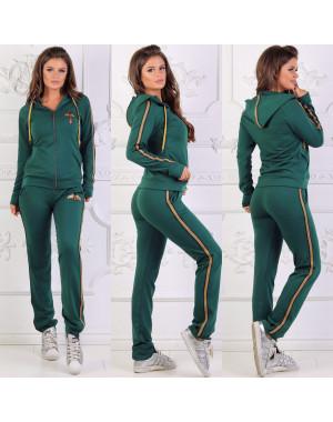 0020 зеленый женский спортивный костюм на змейке (42,42,44, 3 ед.)