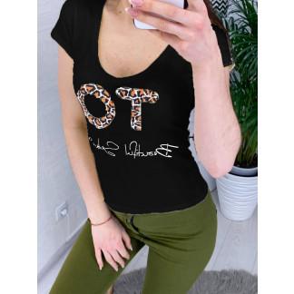 0122-01 черная MMC футболка женская с принтом стрейчевая (S-3,M, 4 ед.) MMC: артикул 1090354