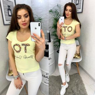 0122 желтая MMC футболка женская с принтом стрейчевая (S-XL, 4 ед.) MMC: артикул 1090353