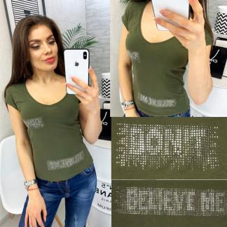 0118 хаки MMC футболка женская со стразами стрейчевая (S-XL, 4 ед.) MMC: артикул 1090350