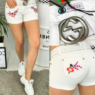 0623-S Gucci шорты женские белые с вышивкой стрейчевые (26-30, 5 ед.) Gucci: артикул 1090719