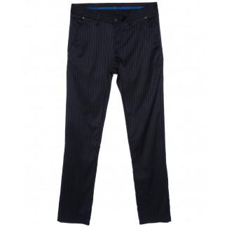 2026-004 Lenciro брюки мужские в полоску темно-синие весенние стрейч-котон (31-38, 8 ед.) Lenciro: артикул 1094008
