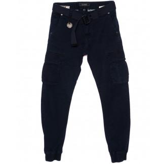1905-2 In Yesir брюки мужские джоггеры с накладными карманами темно-синие весенние стрейч-котон (29-38, 8 ед.) In Yesir: артикул 1094030