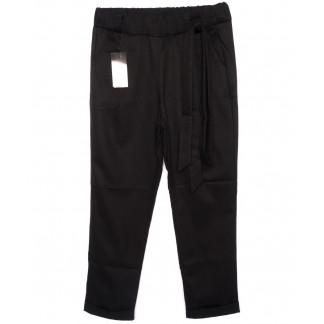 0535-черный X брюки женские батальные черные с поясом осенние стрейчевые (48-54, батал, 4 ед.) X: артикул 1096091
