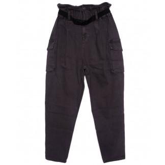 2021-5 X брюки женские на поясе стильные темно-серые осенние стрейчевые (S-2XL, 5 ед.)  X: артикул 1097449