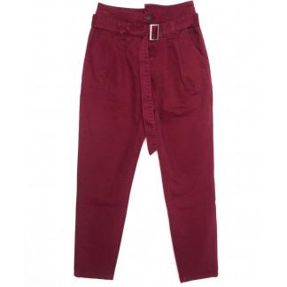 2002-3 X брюки женские на поясе стильные красные осенние стрейчевые (S-2XL, 5 ед.)  X: артикул 1097460