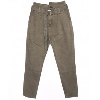 2002-2 X брюки женские на поясе стильные светло-серые осенние стрейчевые (S-2XL, 5 ед.)  X: артикул 1097461