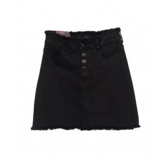 0537 REDMOON юбка джинсовая черная на пуговицах осенняя стрейчевая (25-30, 6 ед.)  REDMOON: артикул 1097426