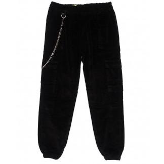 0509-1 X брюки женские на резинке черные осенние стрейчевые вельветовые  (S-L, 4 ед.) X: артикул 1098948