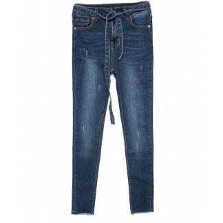 3468 New jeans американка с царапками с поясом синяя осенняя стрейчевая (25-30, 6 ед.) New Jeans: артикул 1099334