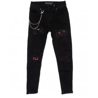 0332-G Redman джинсы на мальчика с рванкой модные черные осенние стрейчевые (26-32, 8 ед.) REDMAN: артикул 1099404