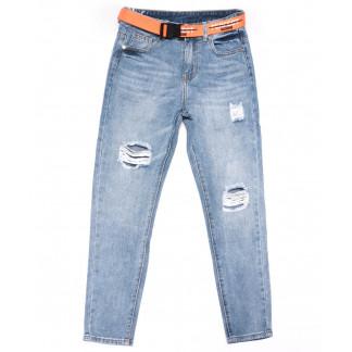 3608 New jeans мом голубой с царапками весенний коттоновый (25-30, 6 ед.) New Jeans: артикул 1102240