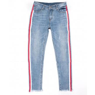 3587 New jeans мом с лампасами голубой с царапками весенний коттоновый (25-30, 6 ед.) New Jeans: артикул 1102241