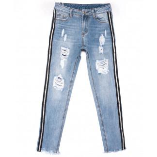 3585 New jeans мом с лампасами голубой с царапками весенний коттоновый (25-30, 6 ед.) New Jeans: артикул 1102252