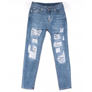 3595 New jeans мом голубой с царапками весенний коттоновый (25-30, 6 ед.) New Jeans: артикул 1102254