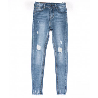 3611 New jeans американка синяя с царапками весенняя стрейчевая (25-30, 6 ед.) New Jeans: артикул 1102265