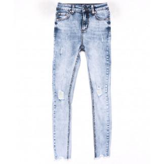3604 New jeans американка голубая с царапками весенняя стрейчевая (25-30, 6 ед.) New Jeans: артикул 1102273
