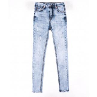 3602 New jeans американка голубая с царапками весенняя стрейчевая (25-30, 6 ед.) New Jeans: артикул 1102275