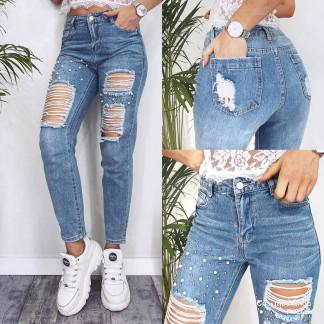 Джинсы мом с жемчугом и рванкой New jeans 3609 New Jeans: артикул 1103518