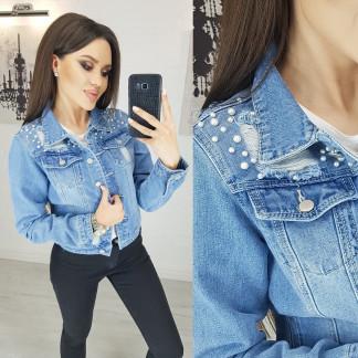 0803 New jeans куртка джинсовая женская синяя весенняя коттоновая (XS-XXL, 6 ед.) New Jeans: артикул 1103413