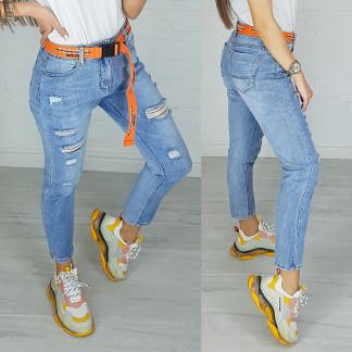 3590 New jeans мом голубой с царапками весенний коттоновый (25-30, 6 ед.) New Jeans: артикул 1102255