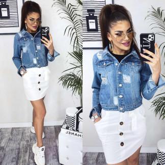 0801 New jeans куртка джинсовая женская синяя весенняя коттоновая (XS-XXL, 6 ед.) New Jeans: артикул 1103732