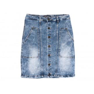 9912-1 V Relucky юбка джинсовая полубатальная синяя весенняя стрейчевая (28-33, 6 ед.)  Relucky: артикул 1104330
