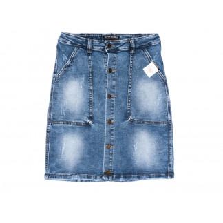 9913-1 V Relucky юбка джинсовая полубатальная синяя весенняя стрейчевая (28-33, 6 ед.)  Relucky: артикул 1104331