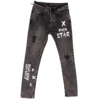 1824 Antza Big Gastino джинсы мужские с рванкой серые весенние стрейчевые (30-38, 8 ед.) Big Gastino: артикул 1104928