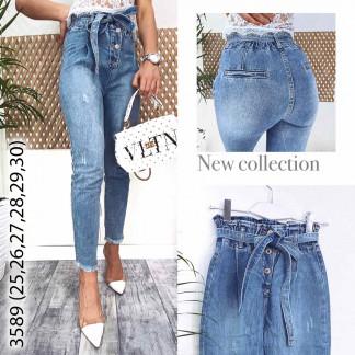 3589-11 New jeans мом голубой с царапками весенний коттоновый (25,25,25, 3 ед.) New Jeans: артикул 1107196
