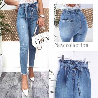 3589 New jeans мом голубой с царапками весенний коттоновый (25-30, 6 ед.) New Jeans: артикул 1102246