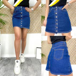 0064 Arox юбка джинсовая на пуговицах синяя весенняя котоновая (34-40, евро, 4 ед.) Arox: артикул 1105542