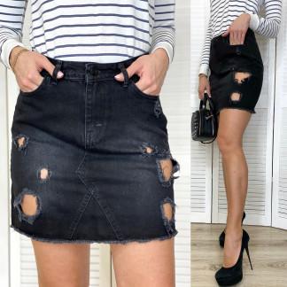 0827-01 TopShop юбка джинсовая темно-серая с рванкой весенняя котоновая (XS,S,M,L, 4 ед.) TOP SHOP: артикул 1107160