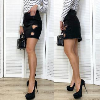 0827 TopShop юбка джинсовая темно-серая с рванкой весенняя котоновая (XS-L, 6 ед.) TOP SHOP: артикул 1105495