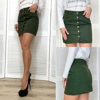 44470 Defile юбка джинсовая цвета хаки весенняя котоновая (34-40, евро, 6 ед.) Defile: артикул 1105496