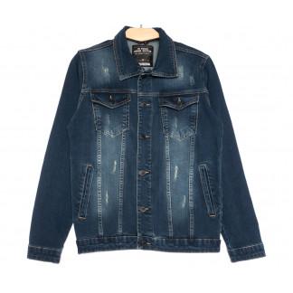 0110 Gecce куртка джинсовая мужская с царапками темно-синяя весенняя коттоновая (S-ХХL, 6 ед.) Gecce: артикул 1105633