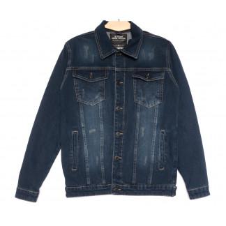 0143 Gecce куртка джинсовая мужская с царапками темно-синяя весенняя коттоновая (S-ХХL, 6 ед.) Gecce: артикул 1105634