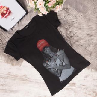 3008 черная футболка женская со стразами стрейчевая (S-L, 3 ед.) Футболка: артикул 1105298
